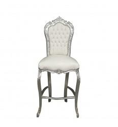 Chaise baroque de bar blanche style Louis XV