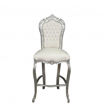Bílé barokní Barová židle stylu Ludvíka XV.