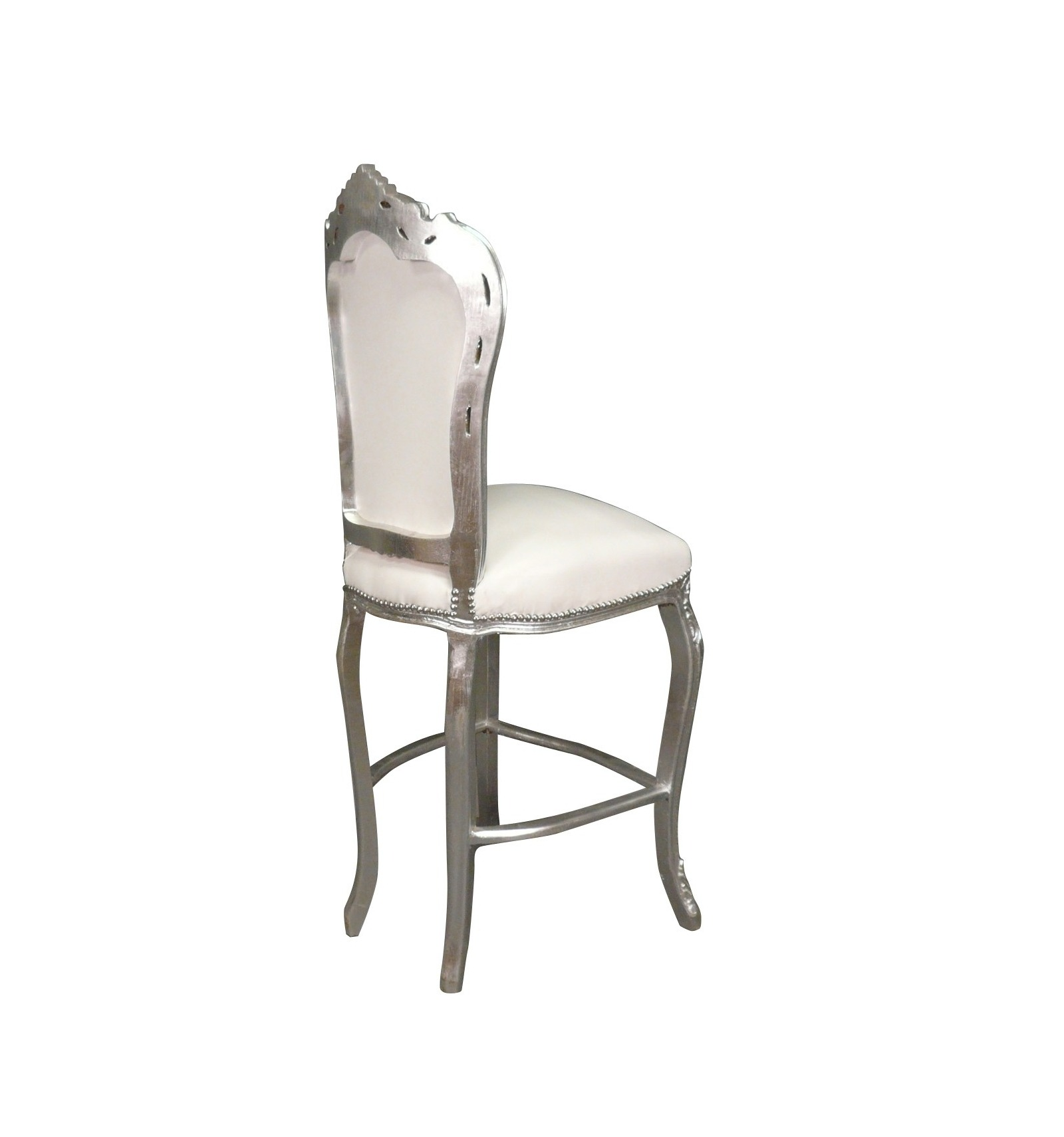 Chaise baroque de bar blanche meuble baroque - Chaise de bureau baroque ...