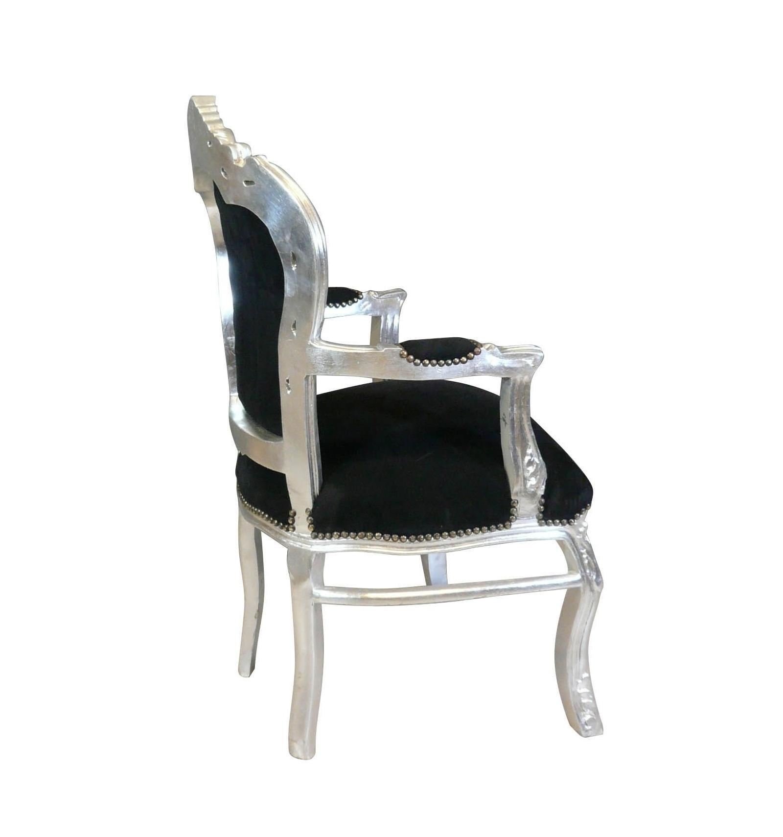 holz schwarz und silber barock sessel. Black Bedroom Furniture Sets. Home Design Ideas