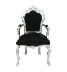 Barokk szék fekete és ezüst