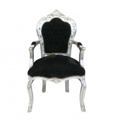 Baroque black and silver armchair