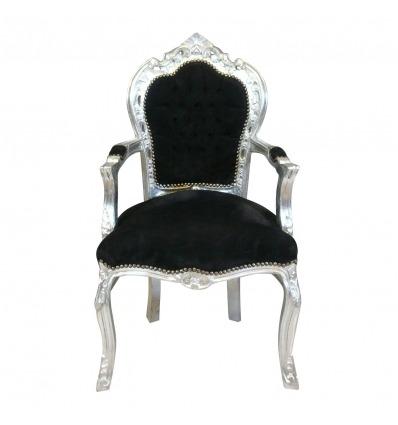 Черные и серебряные стул барокко деревянный -