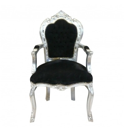 Baroque armchair black and silver wood -