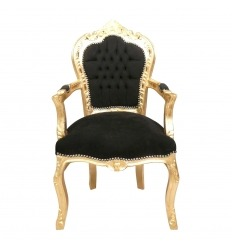 Baroque black and gold armchair