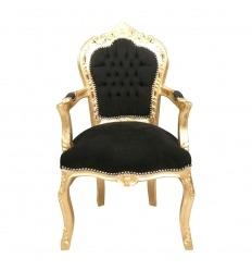 Fauteuil baroque noir et bois doré - Vente de meubles baroque pas chers