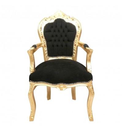 Sillón barroco negro y dorado - Venta de muebles barrocos. -