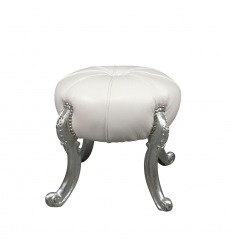 White baroque pouf and silver legs
