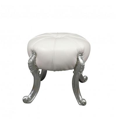Puf blanco barroco y patas plateadas - Sofá barroco -
