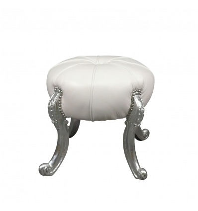 Baroque white pouf and silver legs - Baroque sofa -