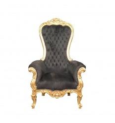 Sillón barroco negro modelo trono.