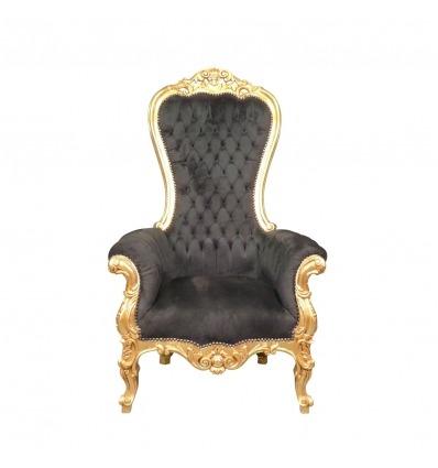 Sillón barroco modelo trono negro - Sofá barroco -