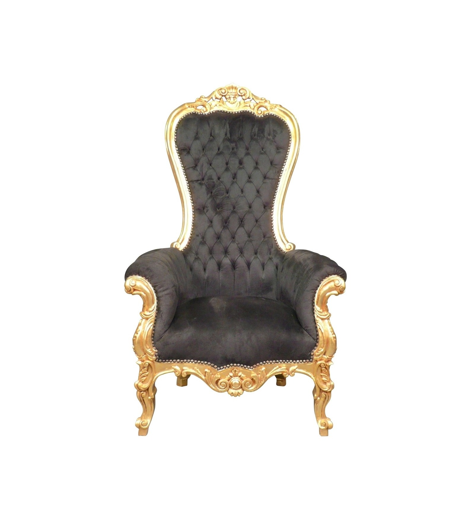 Sillón barroco cubierto de terciopelo negro, tela en un marco de ...