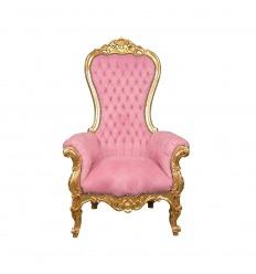 Fauteuil baroque rose modèle trône