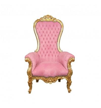 Poltrona barocco rosa modello trono di legno dorato -