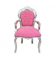 Fauteuil baroque rose et argent