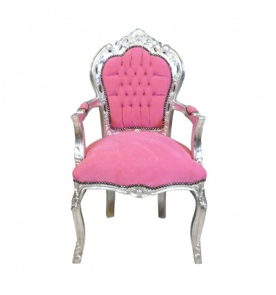 Baroque armchair pink and silver - Baroque furniture cheap -