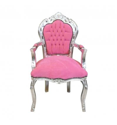 Sillón barroco rosa y plata - Muebles barrocos baratos. -