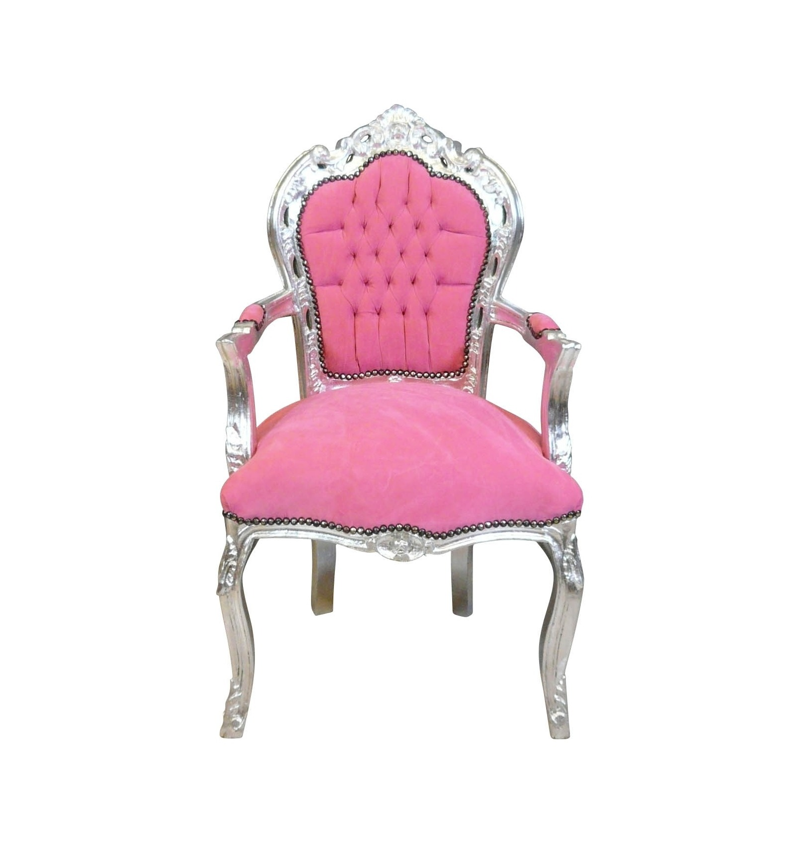 fauteuil baroque rose et argent mobilier baroque pas cher. Black Bedroom Furniture Sets. Home Design Ideas