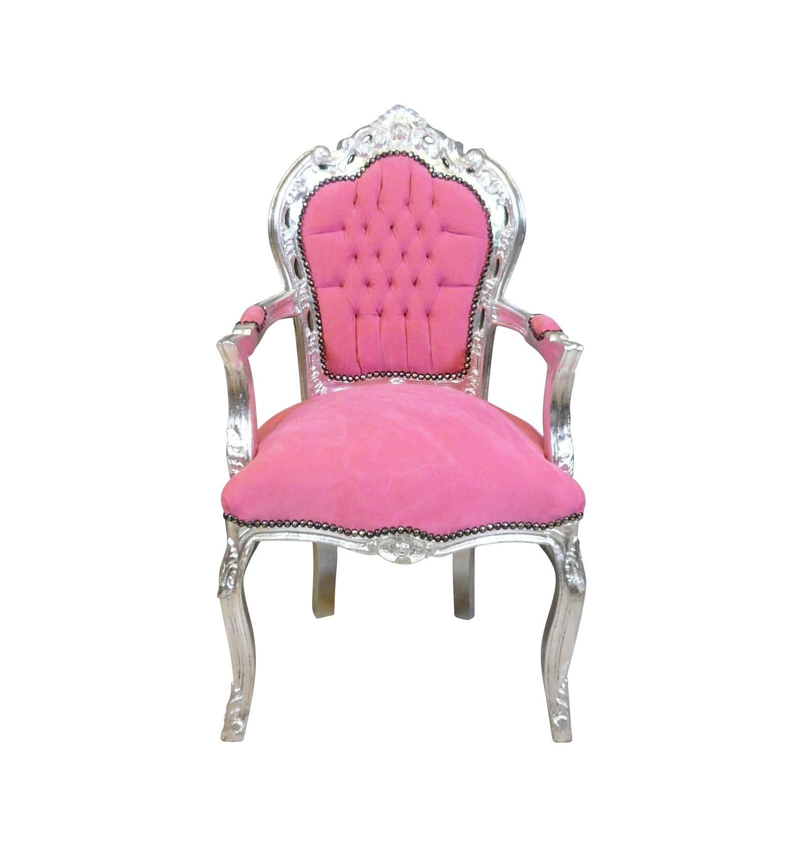 Fauteuil baroque rose et argent mobilier baroque pas cher - Chaise de bureau baroque ...