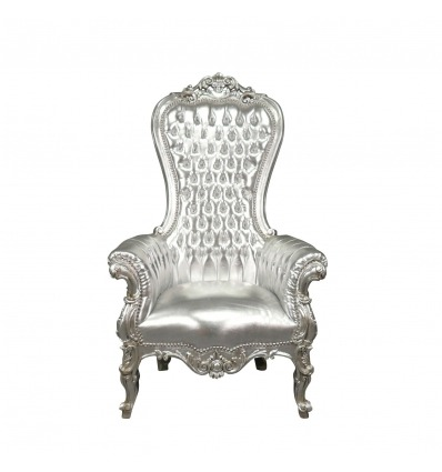 Baroque armchair silver model throne