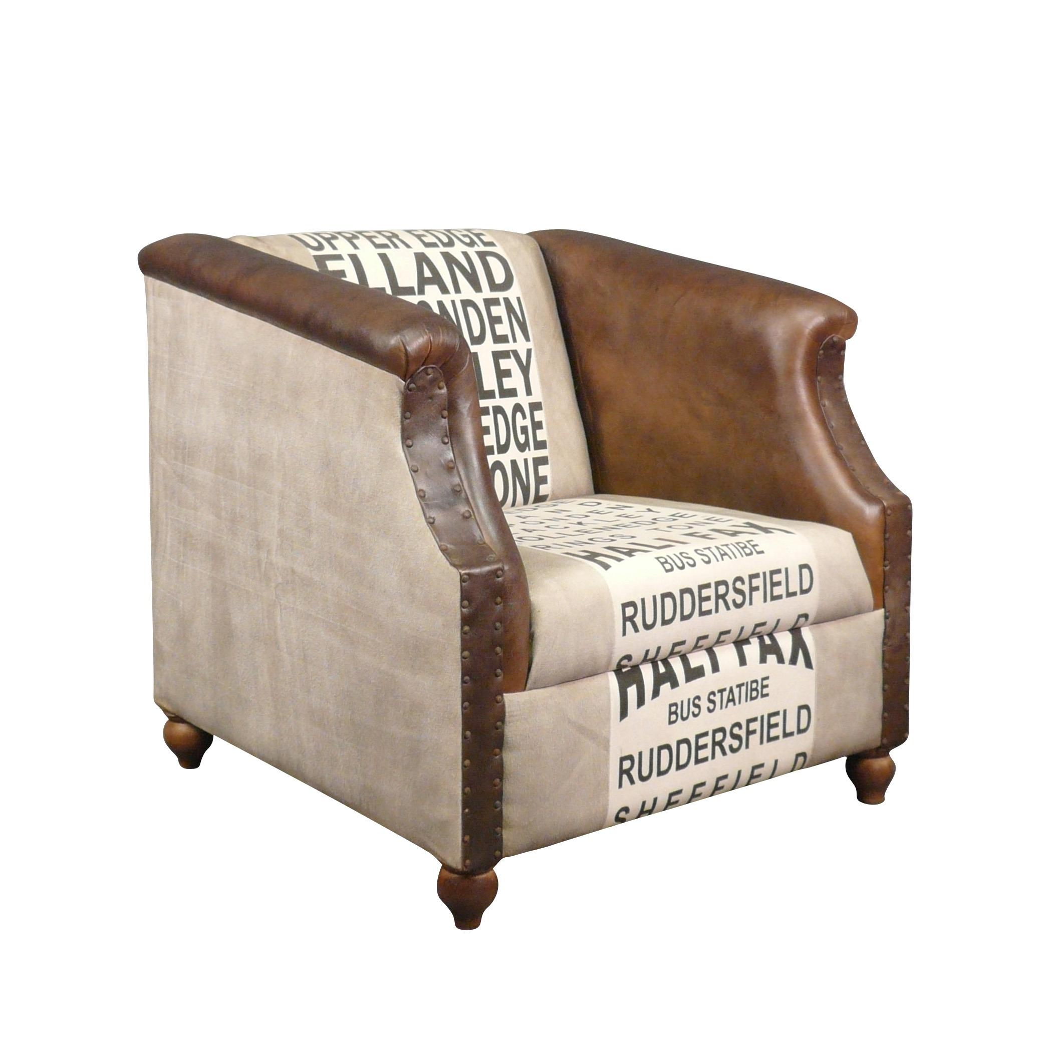 Fauteuil club vintage en cuir et tissu coton style art d co - Fauteuil club en solde ...
