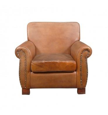 genuine leather vintage deco club chair