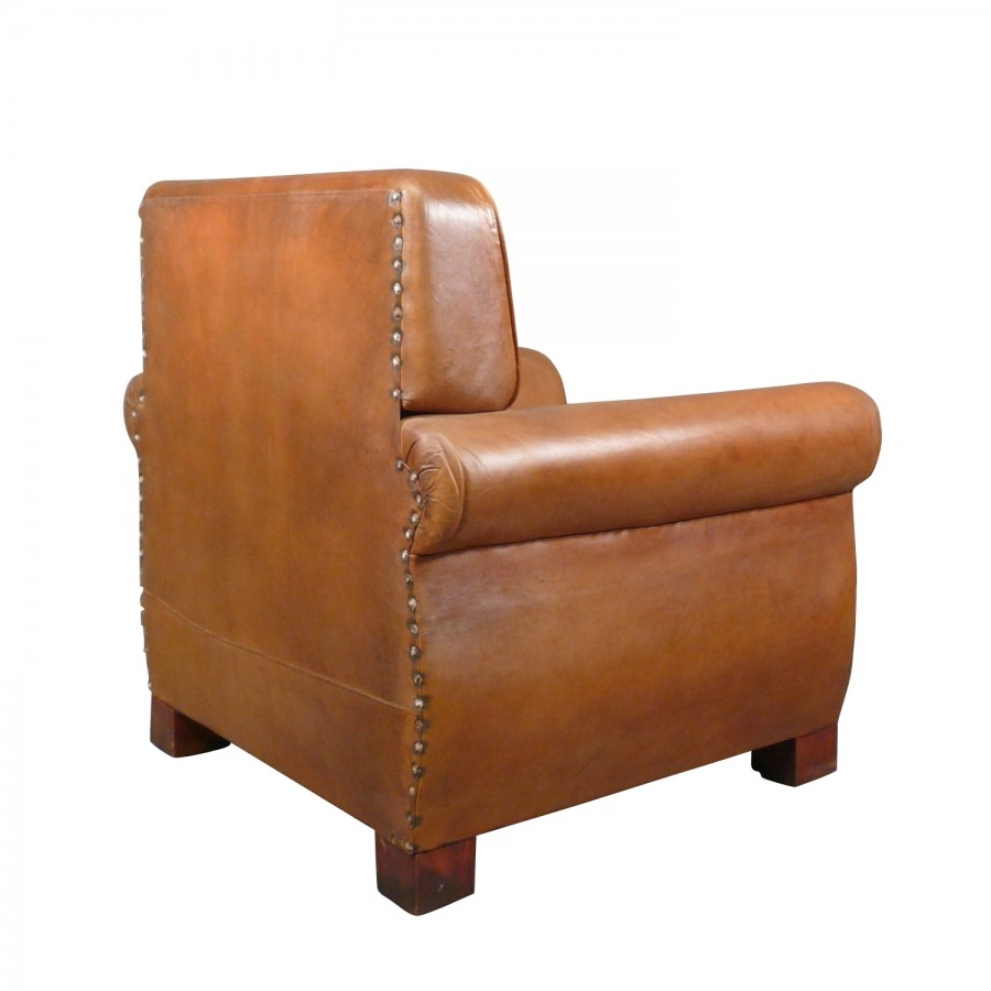 Genuine Leather Vintage Art Deco Club Chair