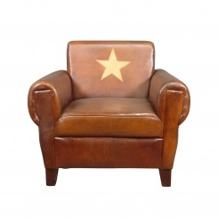 Fauteuil club cuir véritable Soviet - Vintage - Art déco