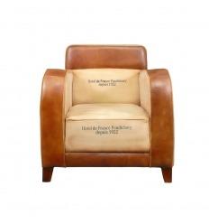 Fauteuil club vintage en cuir et tissu - Art déco