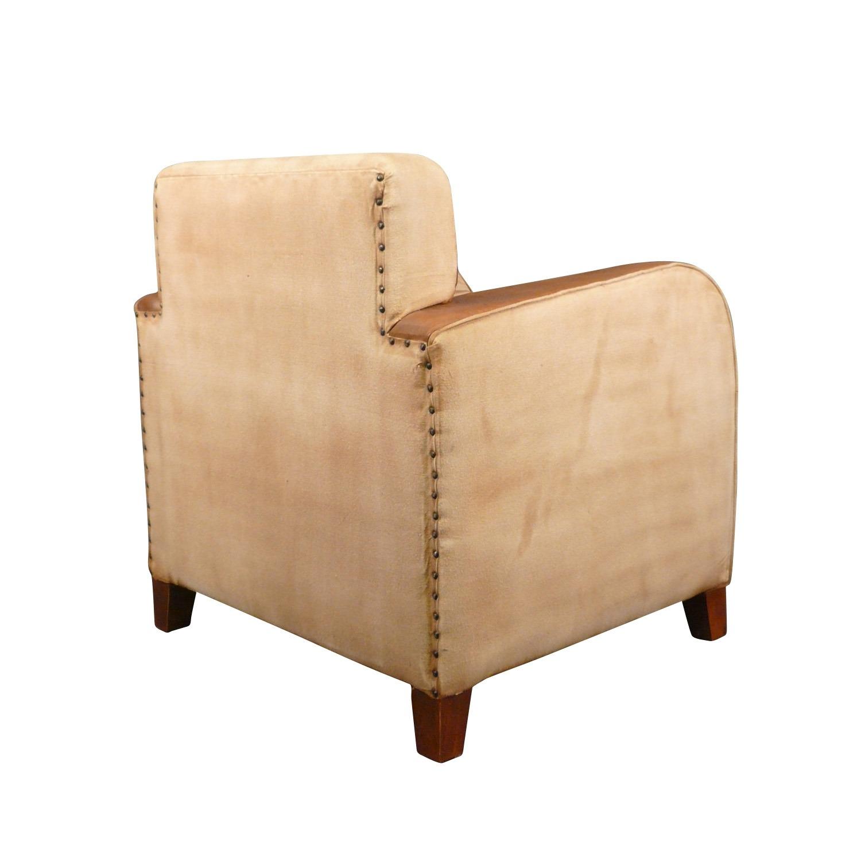Htdeco fauteuil club vintage en cuir et tissu art d co for Fauteuil club art deco