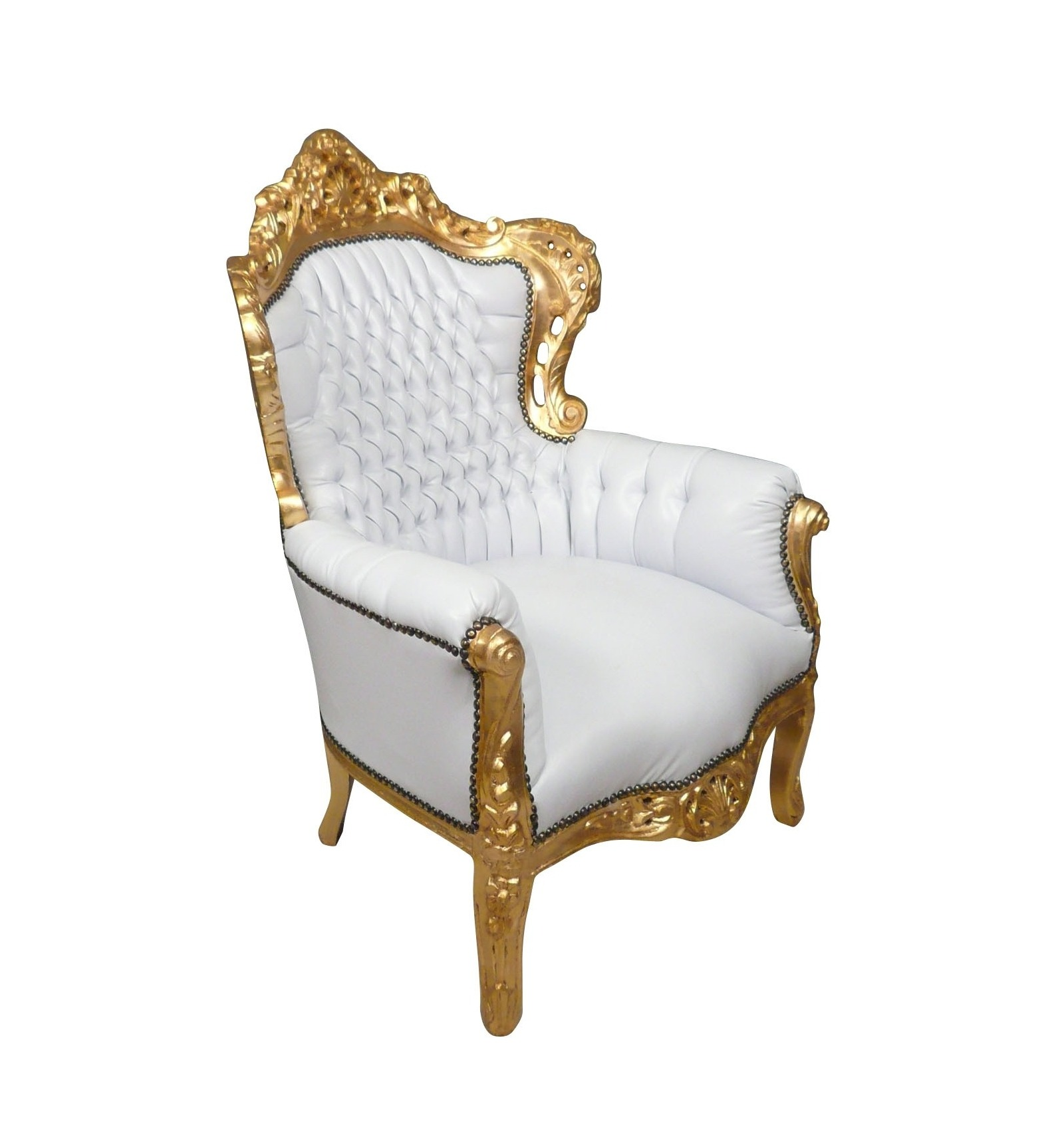 fauteuil baroque blanc et or mobilier style baroque. Black Bedroom Furniture Sets. Home Design Ideas