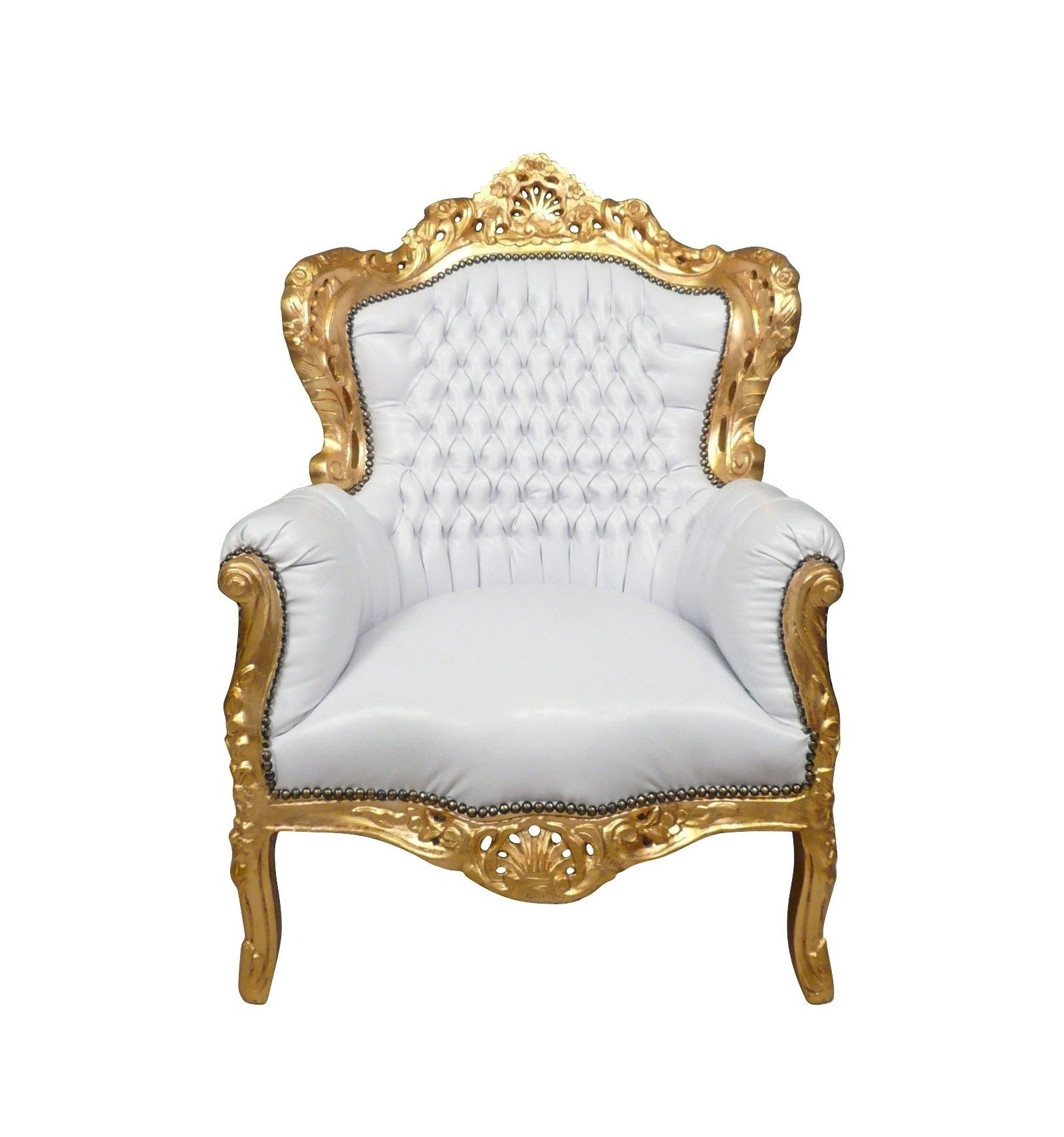 fauteuil baroque blanc et or chaise canap et mobilier de style. Black Bedroom Furniture Sets. Home Design Ideas