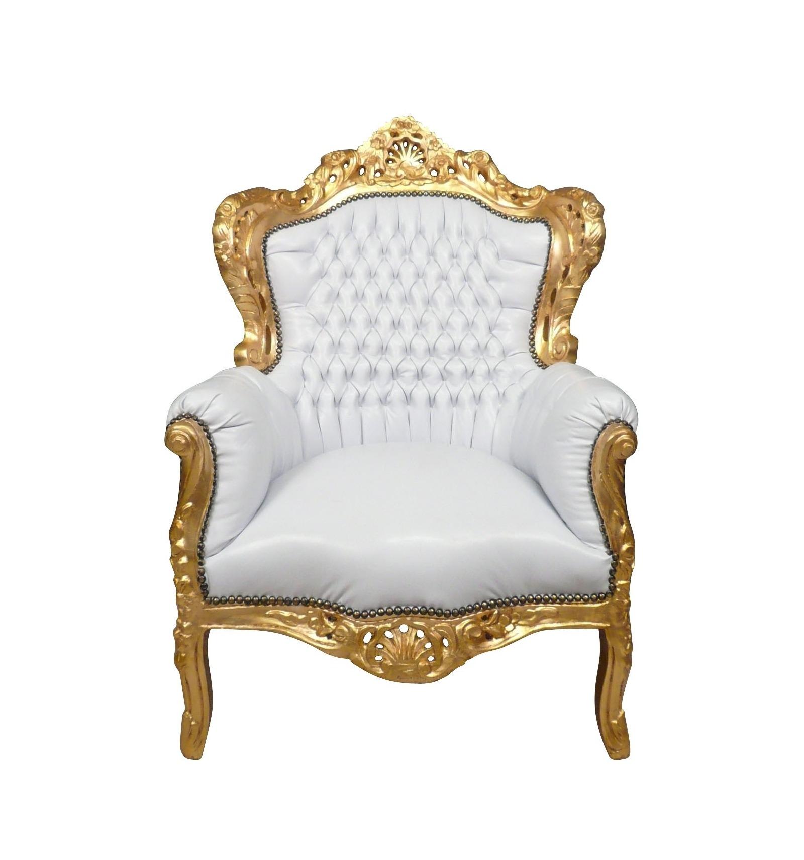 Sillon barroco blanco estatuas de bronce - Chaise de bureau baroque ...