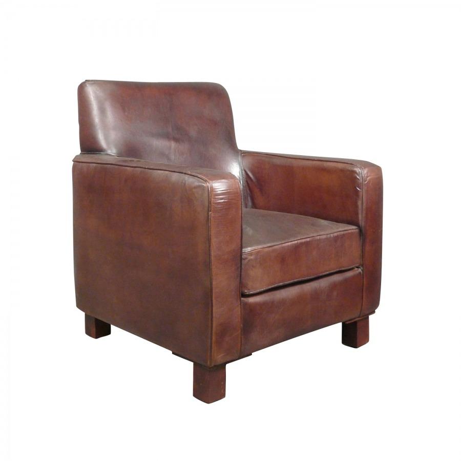 Fauteuil club cuir v ritable vintage art d co - Veritable fauteuil club ...