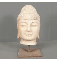 Buddha head in white marble