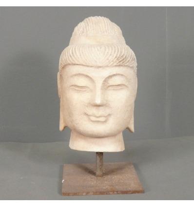 Weißer Marmor Buddha Kopf-Marmor Statue -