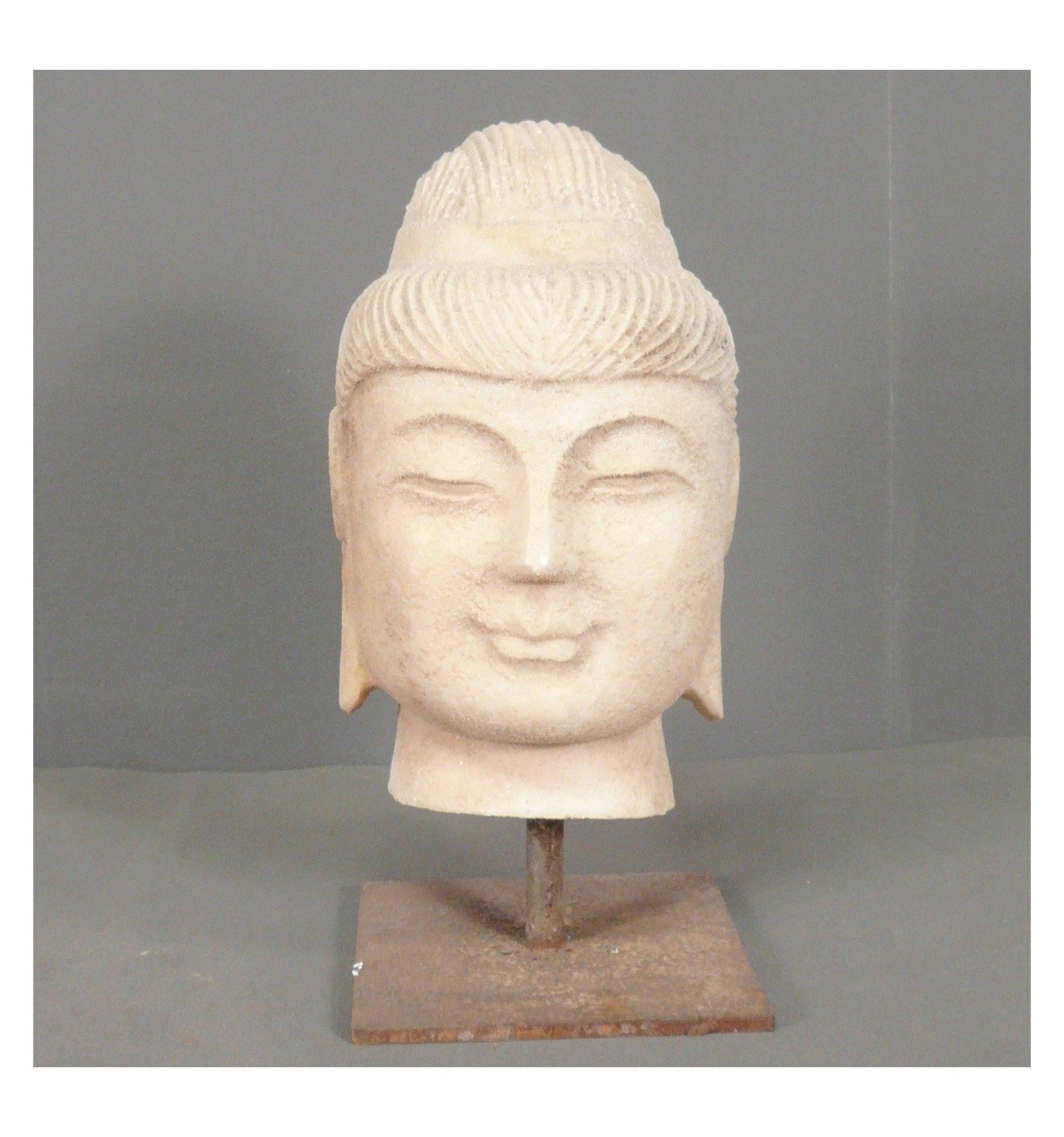 head of buddha in white marble. Black Bedroom Furniture Sets. Home Design Ideas