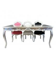 Barock Tisch silbernes Esszimmer