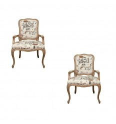 Louis XV armchair in oak - pair