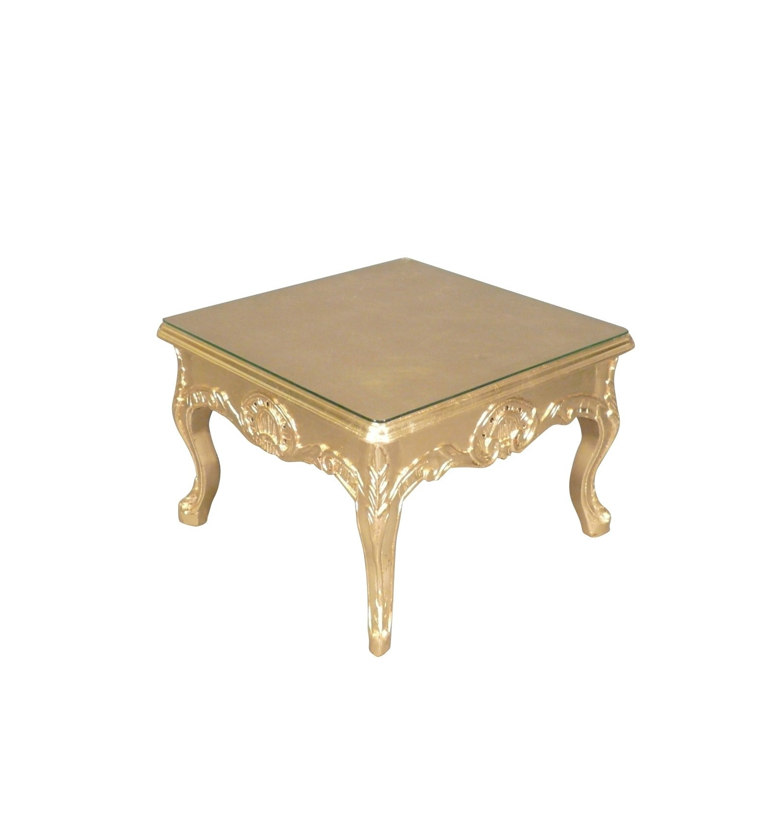 Table basse baroque or -> Table Basse Transparente Courbee