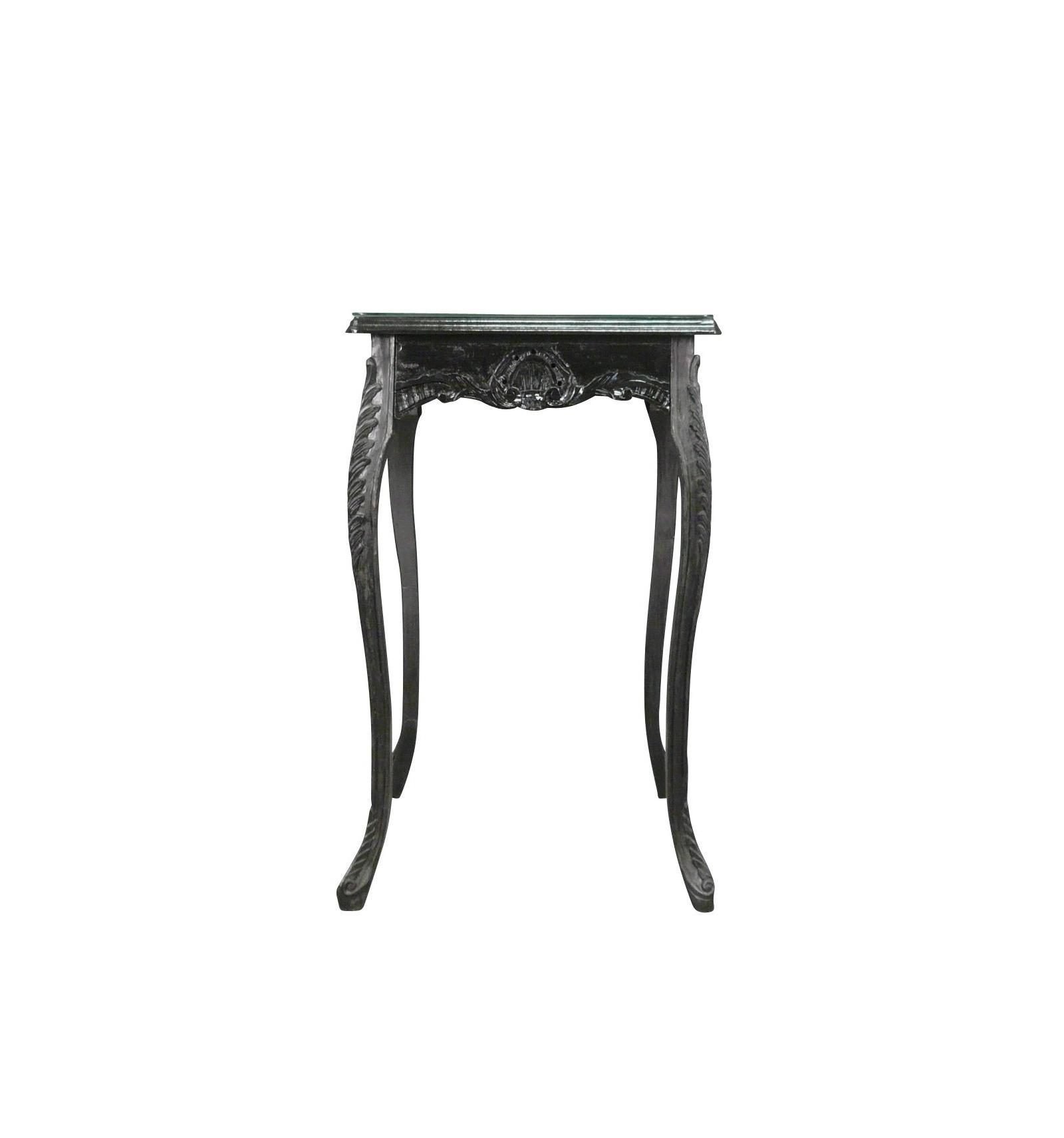 Table haute de style baroque noire for Petit banc baroque