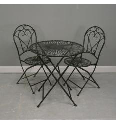 Satz von Bistro in Schmiedeeisen, 1 Tisch, 2 Stühle