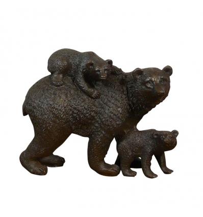 L'orso e i suoi cuccioli - Scultura in bronzo Statuario in bronzo -