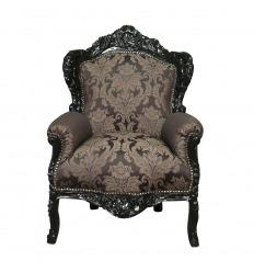 Fauteuil baroque royal noir à fleurs