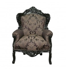 Royal black baroque armchair with flowers