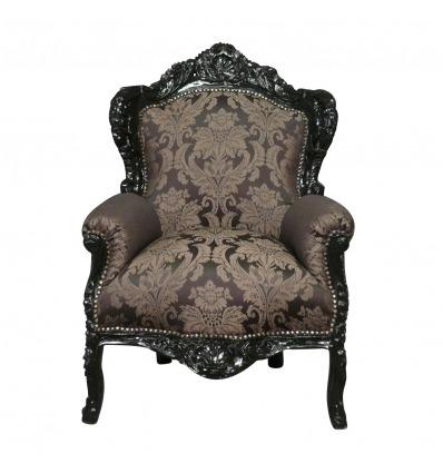 Sillón, silla, puf y muebles de diseño en negro y plata, de estilo barroco. -
