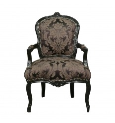 Louis XV black armchair with flowers