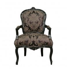 Louis XV schwarzer Sessel mit Blumen