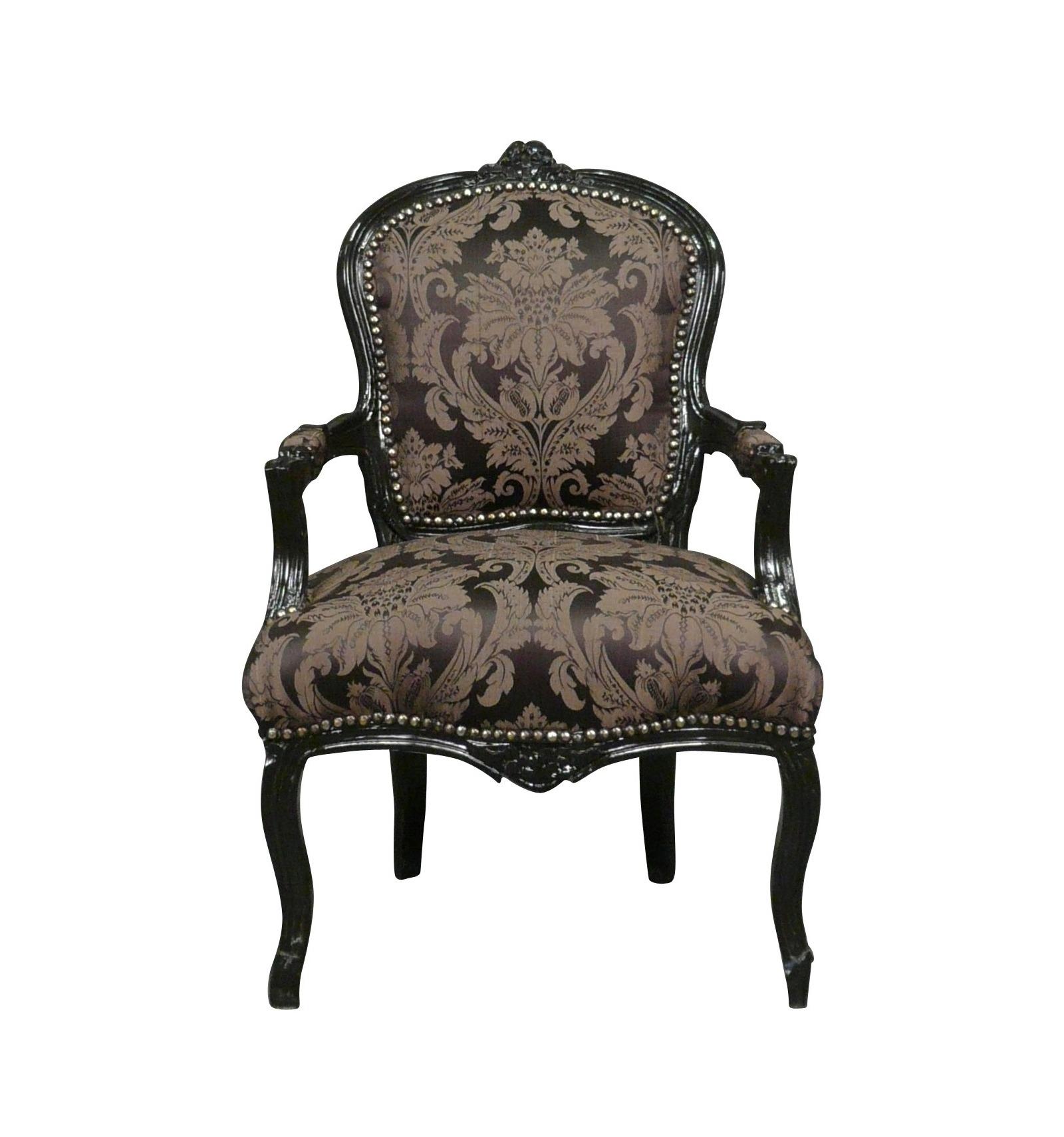 Chaise Salle A Manger Louis Xv fauteuil louis xv noir à fleurs - meubles de style louis xv
